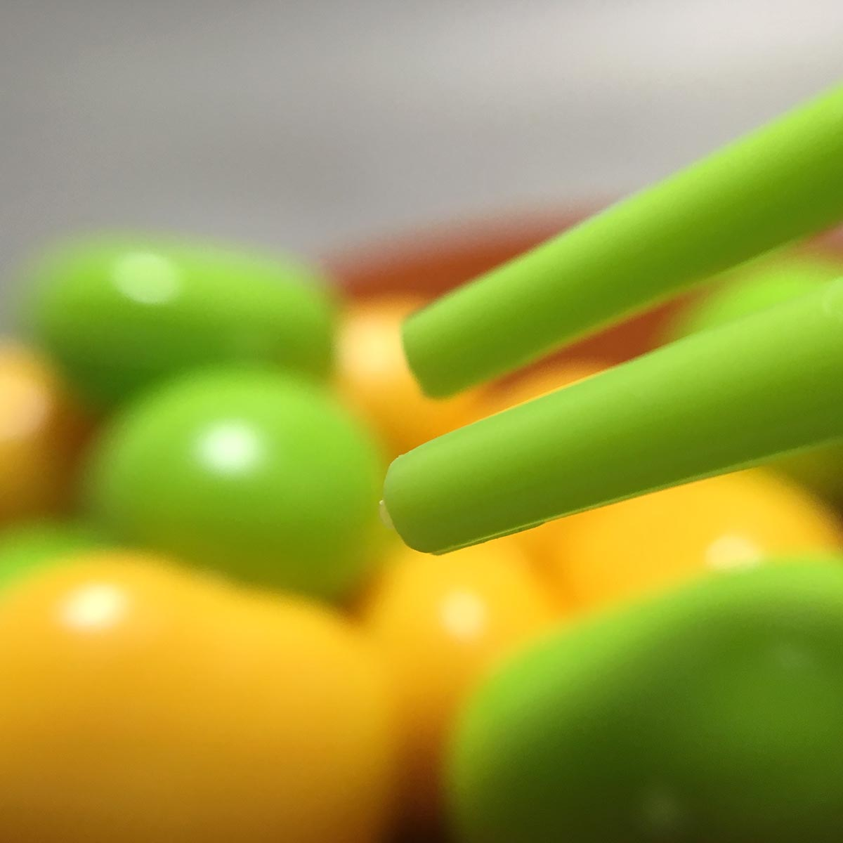 Chopstick Bean Grabbing Game - Green Chopsticks