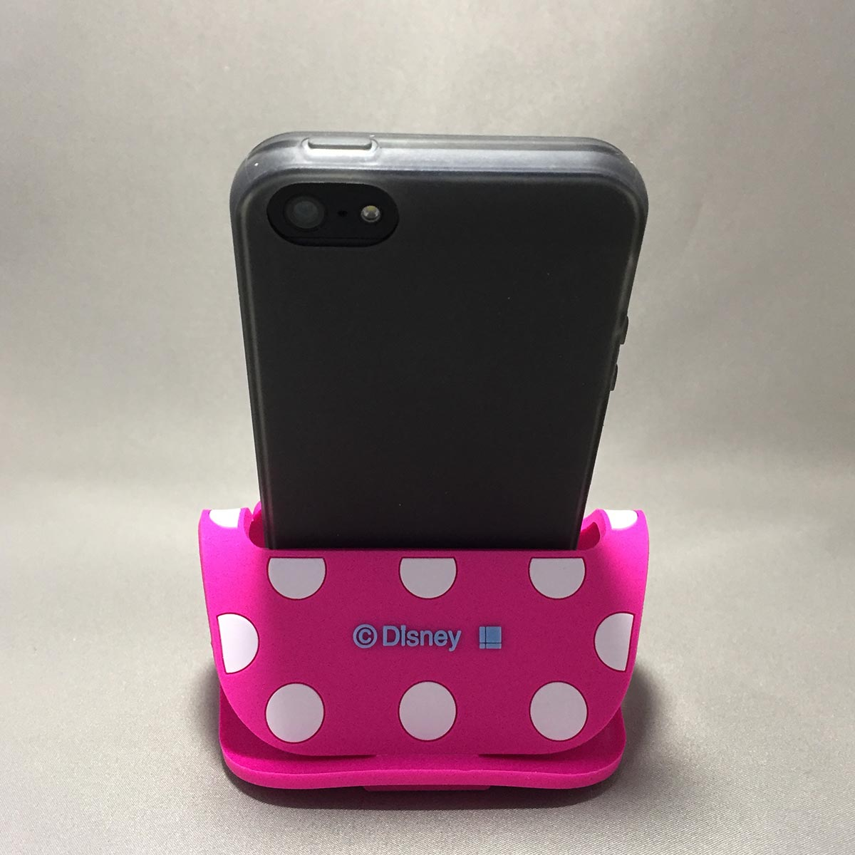 Minnie Mobile Rubber Stand - Back view with iPhone