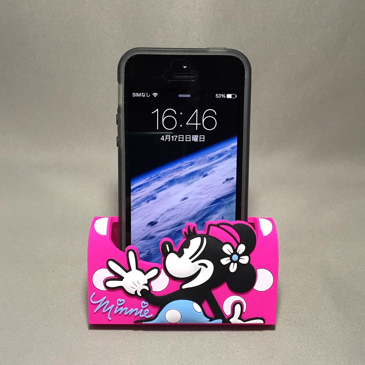 Minnie Mobile Rubber Stand - Front view with iPhone