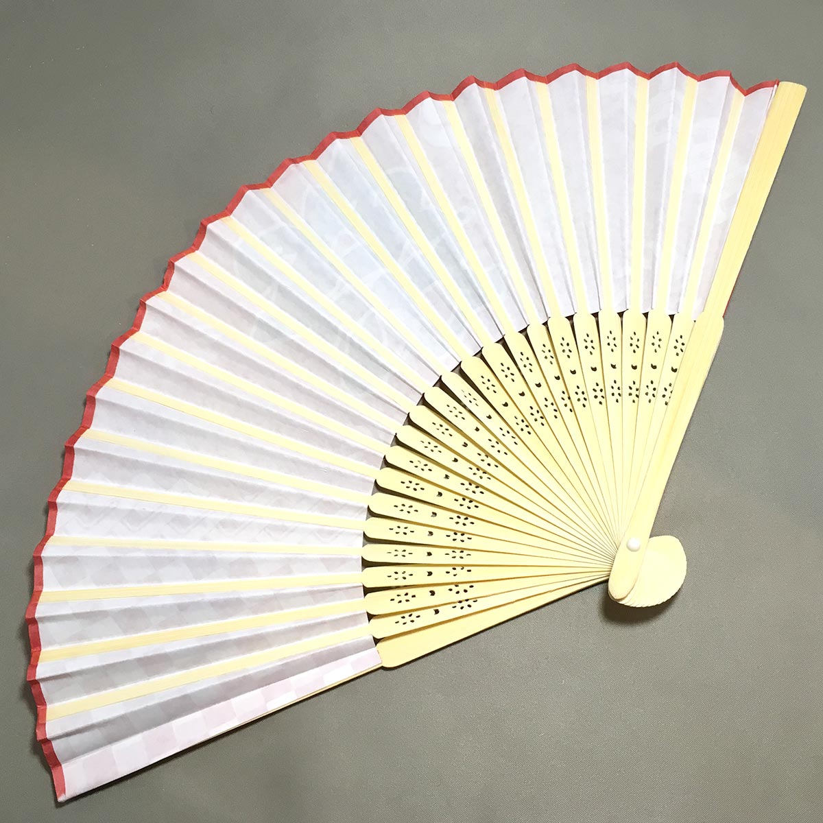 Folding Fan Festival Red - Fan opened back view