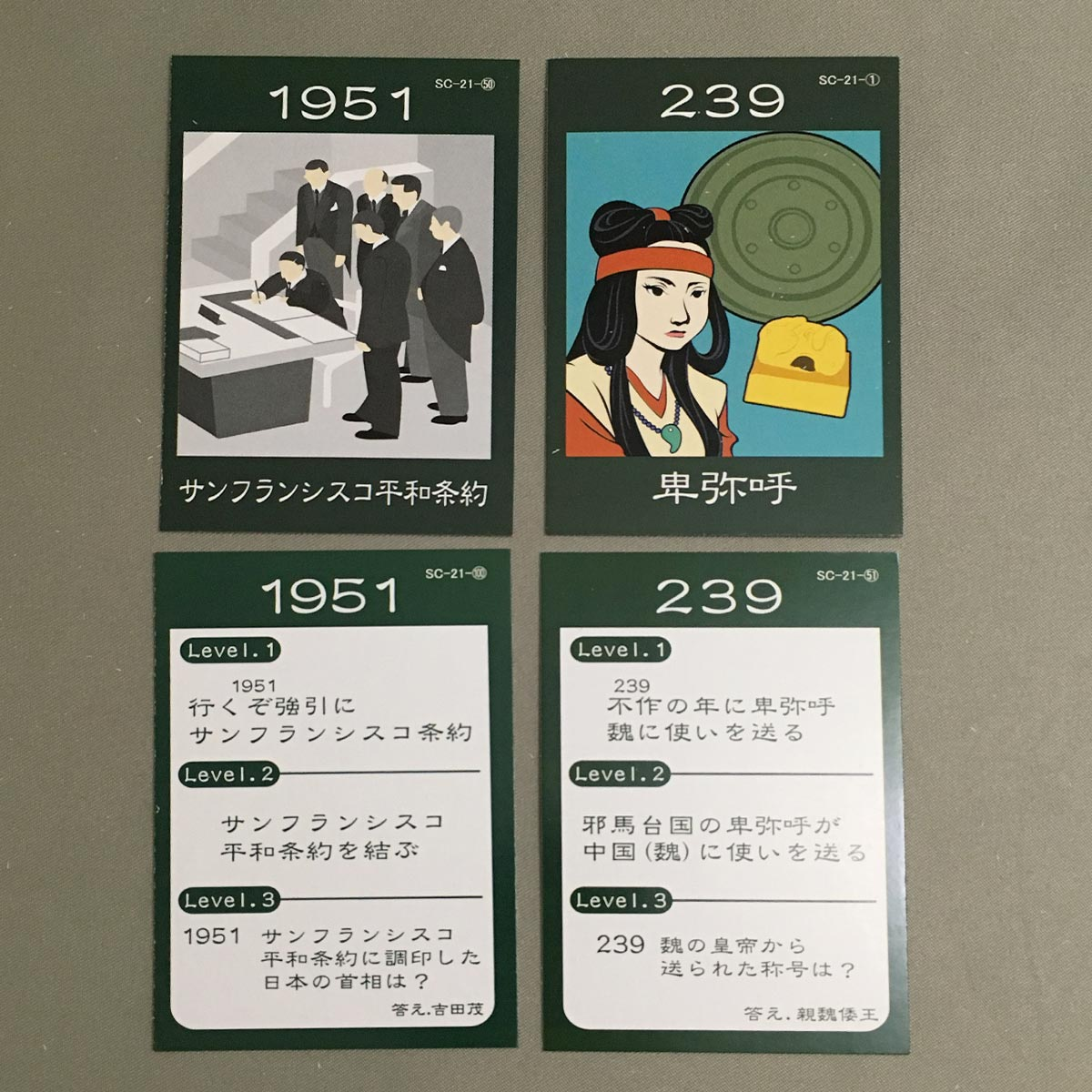 Japanese History Karuta Game - two sets of reading and grabbing cards