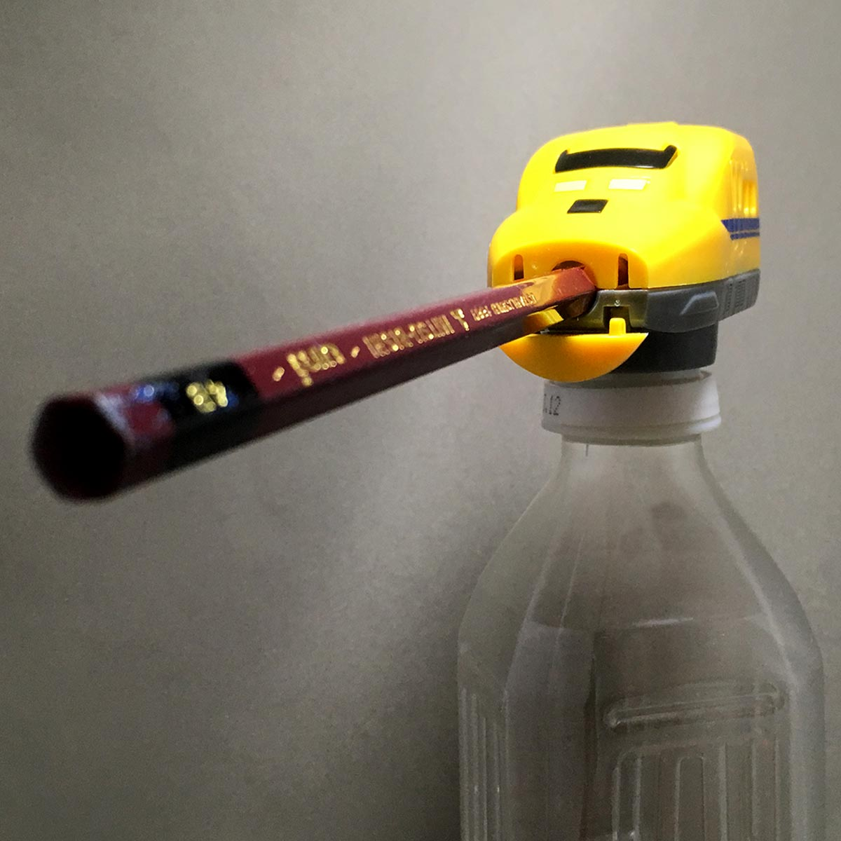 Doctor Yellow Pencil Sharpener - bottle and pencil